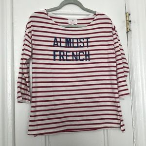 Sundry Breton top - red with navy writing